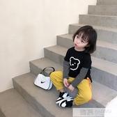 女童秋裝新款長袖t恤洋氣寶寶純棉外穿打底衫兒童拼接時髦上衣潮 韓慕精品