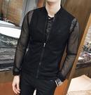 找到自己品牌 男 時尚 潮 薄款 純色細網格 透氣 七分袖 中袖 防曬衣 拉鏈夾克 外套