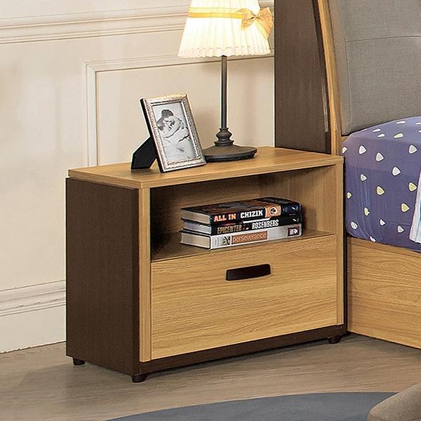 【森可家居】費德勒床頭櫃 10ZX129-4 邊几 雙色 木紋質感 MIT台灣製造