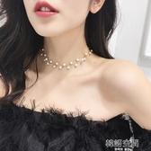 珍珠項鍊韓國頸帶脖鍊choker項圈頸鍊網紅脖子飾品短款鎖骨鍊女