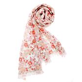 renoma paris復古風小碎花薄圍巾(橘紅色)989063-160