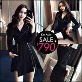 克妹Ke-Mei【ZT47919】歐洲站 奢華時尚圈拉鍊開叉V領西裝外套+短褲套裝