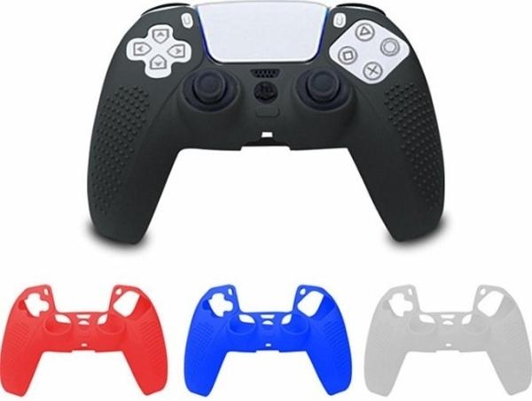 [哈GAME族]滿$399免運費 可刷卡 PS5手把矽膠果凍套 矽膠保護殼 帶防滑顆粒 黑色/白色/紅色/藍色