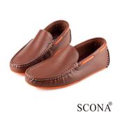 SCONA 全真皮 經典手工懶人鞋 咖啡色 1247-2