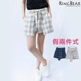 褲裙--清甜可愛潮流百搭款假兩件式後鬆緊收腰格紋綁帶褲裙(白.藍XL-5L)-R74眼圈熊中大尺碼◎