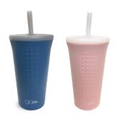 美國 silikids TOGO矽膠吸管隨行杯16oz (純淨粉/霧粉藍
