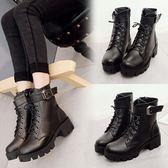 韓版馬丁靴 靴子 中跟粗跟系帶皮帶扣機車靴  ✎﹏₯㎕ 米蘭shoe 621-036