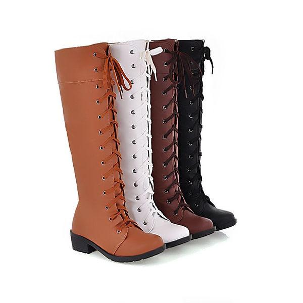 經典優雅帥氣複古綁帶平底休閒馬丁長筒靴-黑,白,棕,黃(34-43)【398257820141】