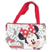 小禮堂 迪士尼 米妮 橫式皮質保冷便當袋 保冷提袋 野餐袋 手提袋 (紅灰 摸臉) 4713549-19018