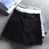 褲裙 韓版高腰 闊腿A字牛仔休閒褲