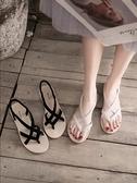涼鞋 搭配裙子的涼鞋女網紅時尚平底夾趾仙女風潮夏季女鞋