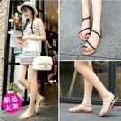 【168-0521】夏季新款性感羅馬編織平底夾腳凉鞋(黑/白/銀)