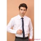 男士長袖襯衫 夢特嬌 素面白色款 【吸濕排汗】