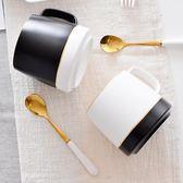 陶瓷杯創意大容量描金馬克杯帶勺簡約咖啡杯辦公室杯情侶杯 KB7459 【野之旅】