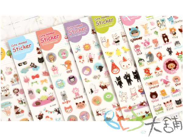 韓國│手帳│貼紙│快樂動物樂園立體貼紙@貓咪熊企鵝青蛙獅子兔子大象貓頭鷹裝飾手帳相片手機