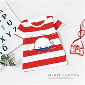 純棉 小鯨魚紅白條紋短袖上衣 夏天 T恤 短袖 短T 棉質 上衣 女童 男童 鯨魚 韓版 條紋 哎北比童裝