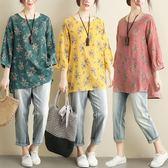 棉麻 日系印花七分袖上衣-多尺碼 獨具衣格