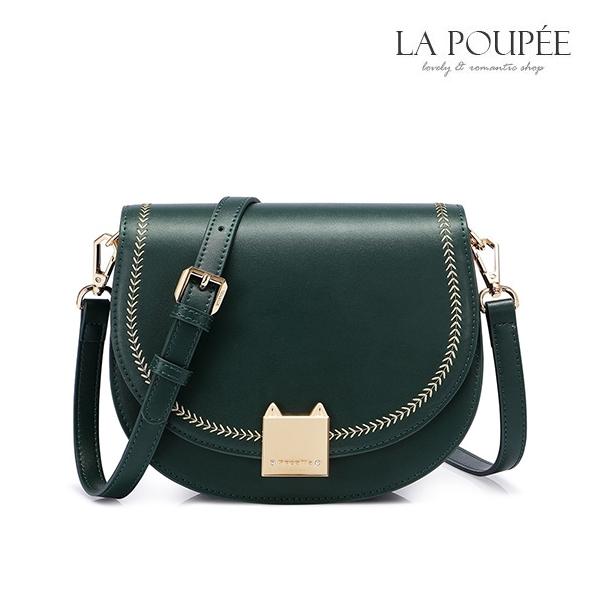 側背包 簡約貓咪鎖扣復古馬鞍包 2色-La Poupee樂芙比質感包飾 (現貨+預購)