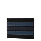 美國正品 COACH 男款 藍色直紋荔枝紋皮革六卡短夾-黑色【現貨】