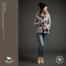 【Roush】女生格紋毛帽設計牛角釦大衣...