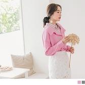 《AB11244》高含棉條紋襯衫拼接寬版假兩件長袖上衣 OrangeBear