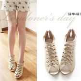中大尺碼女鞋 夏韓版女鞋魚嘴鞋坡跟鞋中跟涼鞋羅馬涼鞋小碼 大碼40-43