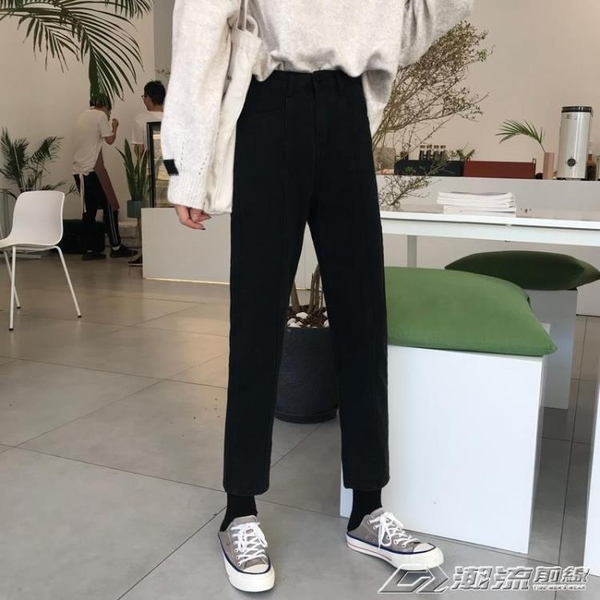 直筒牛仔褲女秋季新款韓版顯瘦哈倫高腰chic風褲子學生九分褲 夢想生活家
