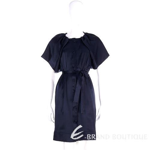 Love Sex Money-LORELLA SIGNORINO 深藍色扇型袖緞面洋裝(附腰帶) 0940447-23 下殺3折