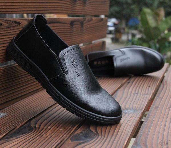 純黑雨鞋男低幫短筒防水鞋仿皮鞋厚底防滑膠鞋廚房工作鞋廚師鞋【幸福家居】