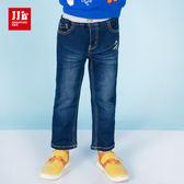 JJLKIDS 男童 宇宙飛碟刺繡牛仔褲(深藍)
