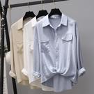 棉麻白色襯衫女長袖設計感小眾2021春裝寬鬆顯瘦學生文藝上衣襯衣 設計師