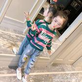 女童長袖t恤春秋 韓版兒童秋裝條紋上衣中大童洋氣打底衫『水晶鞋坊』