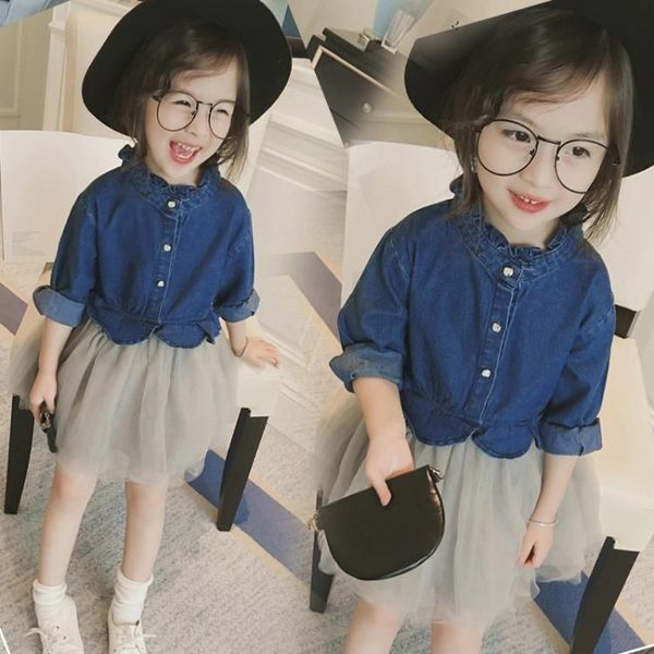 兒童洋裝 新款童裝韓版女童時尚網紗牛仔裙長袖假兩件連衣裙公主裙