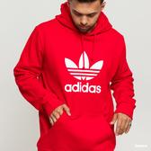 ADIDAS ORIGINALS HOODIE 紅 白LOGO  基本款 長袖 帽T 男 (布魯克林) EJ9680