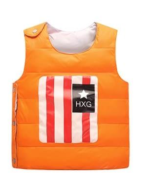 男Baby男童裝輕便型羽絨背心橘色可愛國旗印花羽絨背心現貨90%絨
