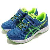 Asics 慢跑鞋 Pre Contend 4 PS 藍 綠 魔鬼氈 童鞋 中童鞋 運動鞋【PUMP306】 C709N-4385