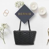《高仕皮包》【免運費】BERNIS肩背購物包-小羊皮菱格紋系列BNA18043BK