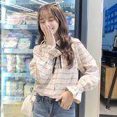 秋季女裝日韓復古港風格子襯衫寬鬆休閒長袖襯衣上衣學生