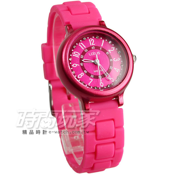 Lotus 時尚錶 日本機蕊 繽紛馬卡龍 數字時刻矽膠腕錶 數字錶 女錶 學生錶 TP2122L-07桃紅