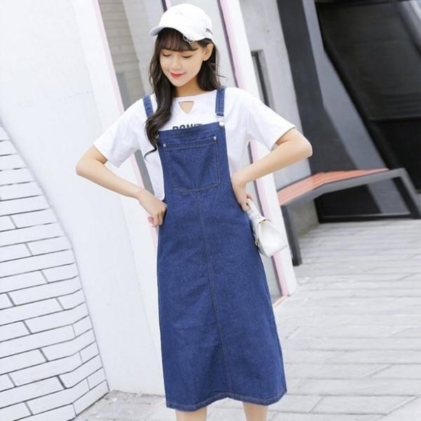 漂亮小媽咪 韓系 牛仔背心裙【D2017】 牛仔 背帶 連身裙 牛仔裙 吊帶裙 韓 牛仔洋裝