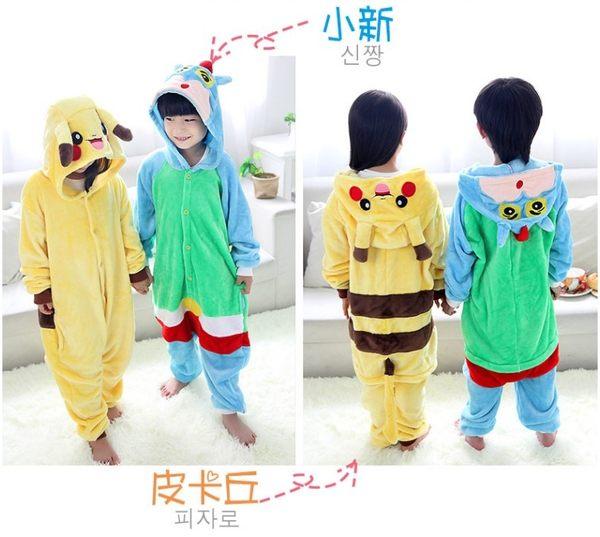 皮卡丘演出服裝 萬聖節 聖誕節  兒童卡通動物連體睡衣 恐龍派對角色扮演服 親子裝 禮物 現貨