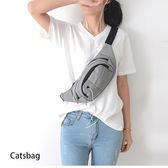 斜背包-帥性三層帆布斜背包腰包 附耳機孔Catsbag 0090710