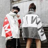 秋季國潮高街寬鬆牛仔外套男女嘻哈OVERSIZE高領衝鋒衣夾克情侶裝