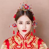 【新年鉅惠】新款新娘古裝頭飾套裝中式婚禮發飾龍鳳褂飾品流蘇鳳冠結婚配飾品
