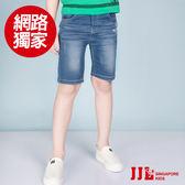 JJLKIDS 男童 百搭刷白造型牛仔五分褲(牛仔藍)