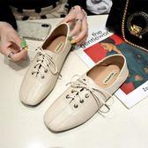 小皮鞋ins小皮鞋女英倫學院風復古潮平底繫帶方頭黑色學生春季單鞋 可然精品