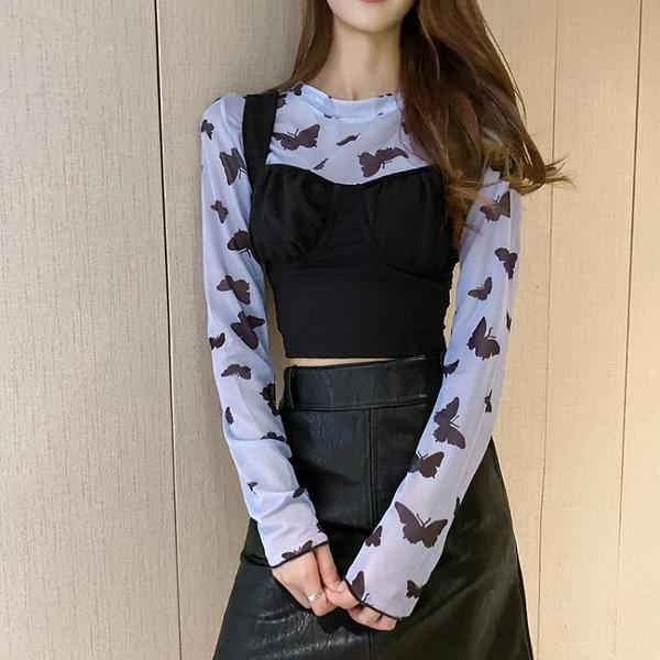 ~LACK夏新款蝴蝶網紗打底衫長袖上衣背心兩件套女團風套裝