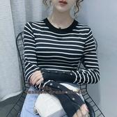 依米迦 秋冬裝新款條紋長袖t恤女圓領氣質修身針織衫學生上衣打底衫
