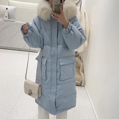 羽絨外套-白鴨絨-狐狸毛領連帽寬鬆長版女夾克5色73zb1【時尚巴黎】