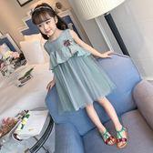 女童洋氣連身裙 夏季童裝 新款韓版女孩無袖網紗裙兒童公主裙子 范思蓮恩